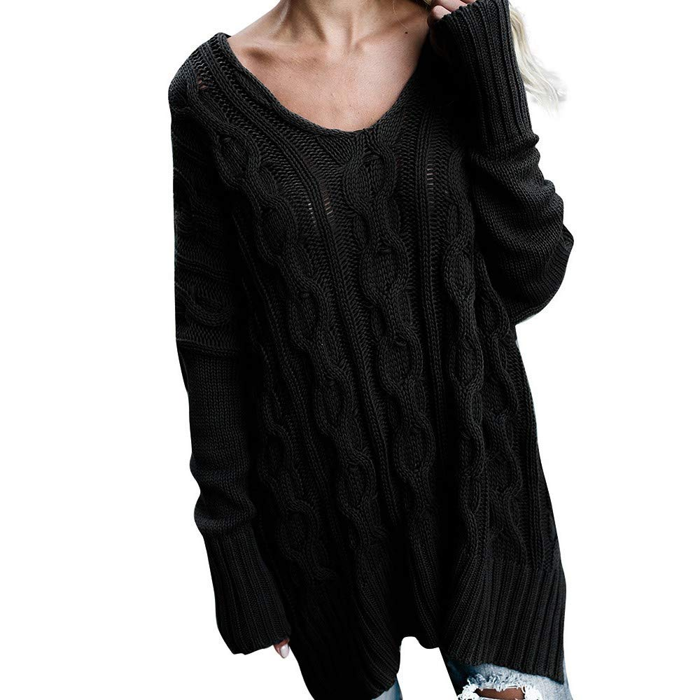 JOFOW Womens Sweaters,Solid Striped Weave V Neck Loose Cold Shoulder Sexy Knitwear Knitted Tops Blouses Pullovers for Women (S,Black)