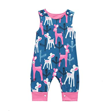 d601a0e883d2f Newborn Infant Baby Boy One-Piece Romper Cartoon Animal Print Jumpsuit  Summer Cute Sleeveless Bodysuit
