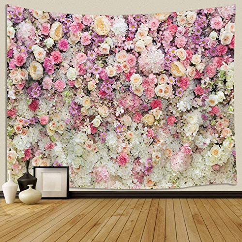 JAWO Floral Wall Tapestry for Girls, Colorful Pink Yellow Rose Flower Large Tapestry Wall Hanging for Bedroom, Romantic Spring Aesthetic Tapestry Beach Blanket College Dorm Home Decor 90 W X 70 H