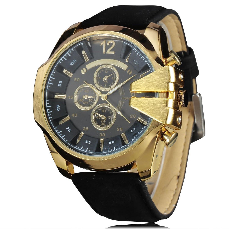 メンズスポーツ腕時計 カウボーイ V6 紳士用クオーツ腕時計 アナログ ミリタリー レザーリスト腕時計 カジュアル ファッション ボーイフレンドへの贈り物に 1# B071ZYRTXD1#