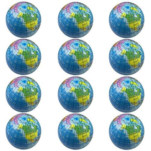 Globe Stress Ball 12 PCS Foam Squishy Balls (2.5