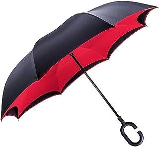 Ombrello Inverso, Ombrello Lungo, a Forma Di C Con Manico,Ombrello di alta qualità - 8 stecche Rinforzate, Funzione anti-vento con Anti-UV, Inverso Doppio Strato Ombrello(Rosso) Ombrello di alta qualità - 8 stecche Rinforzate Tooge TG-FXS-001