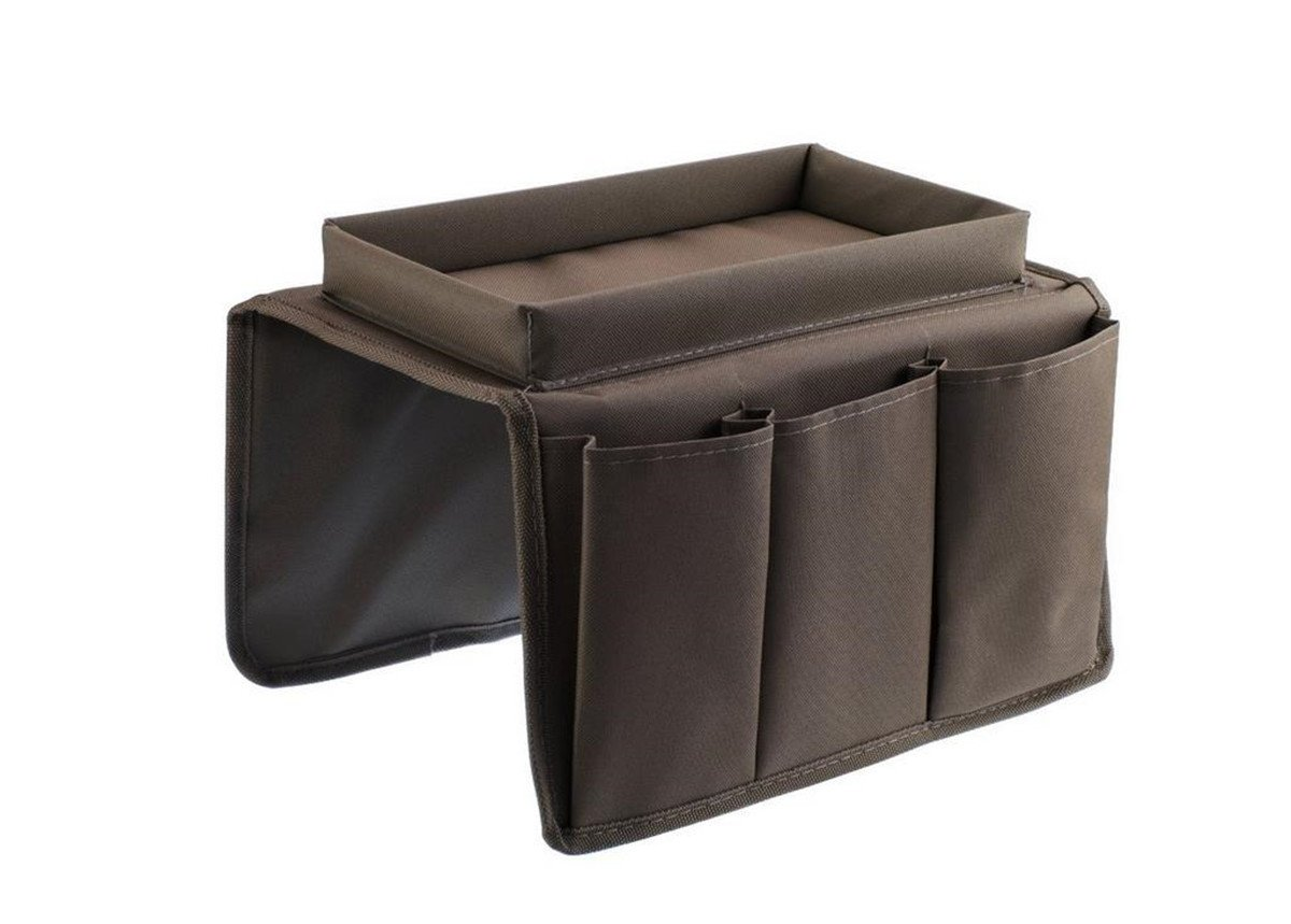 Mvchif Sofa Remote Holder 6 Pockets Armrest Organizer Collapsible TV Control Organizer Bag Magazine Holders for Couch Bed (Brown)