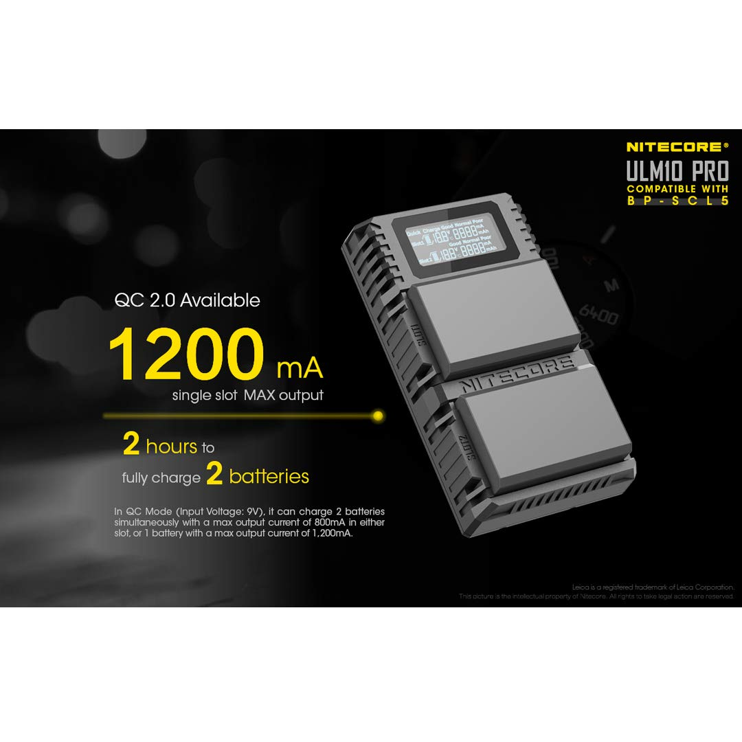 NITECORE ULM10 Pro Digital QuickCharge 2.0 USB Battery Charger Compatible with Leica BP-SCL5 Batteries & LumenTac Keychain Flashlight by Nitecore (Image #4)