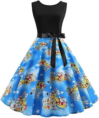VJGOAL Vestido de Navidad para Mujer Vintage Elegante Cintura Alta ...