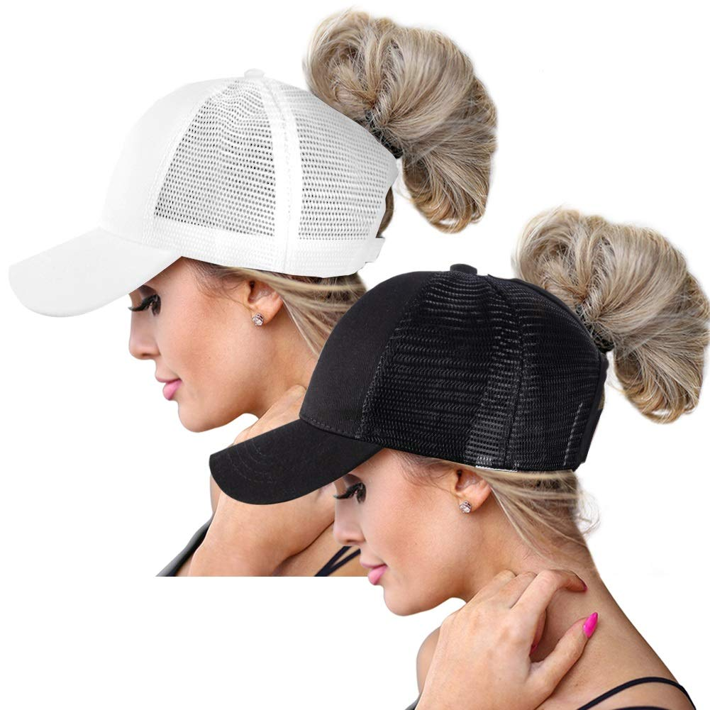High Ponytail Baseball Hats Cap for Women,Messy Bun Ponycaps Adjustable Cotton and Mesh(Classic(Mesh)-Black/White)