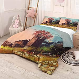 HELLOLEON Fantasy Art House Decor 3-Pack (1 Duvet Cover and 2 Pillowcases) Bedding Scene of Wooden Rustic Barn on Fall Valley Idyllic Countryside Rural Polyester (Twin) Multi