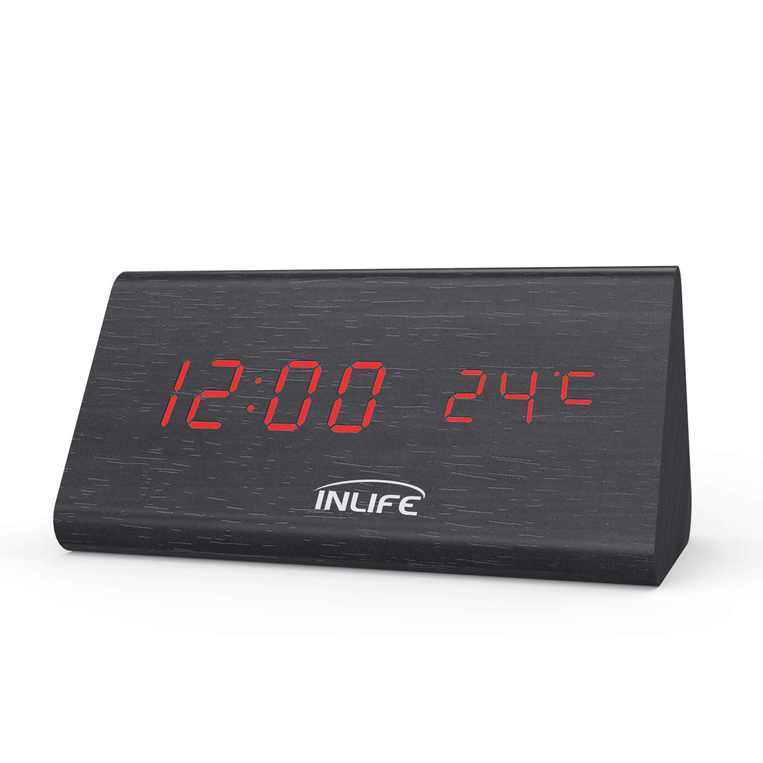INLIFE Wooden Alarm Clock Digital LED Desk Clock with Date Temperatrue Display, Touch and Voice Control, Dimmer, 3 Alarms, Dual Power