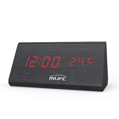 INLIFE Despertador Digital Reloj Digital de Madera con 3 Alarmas con Control de Sonido Inteligente y LED Pantalla Brillo Ajustable Mostrar el Año Mes ...