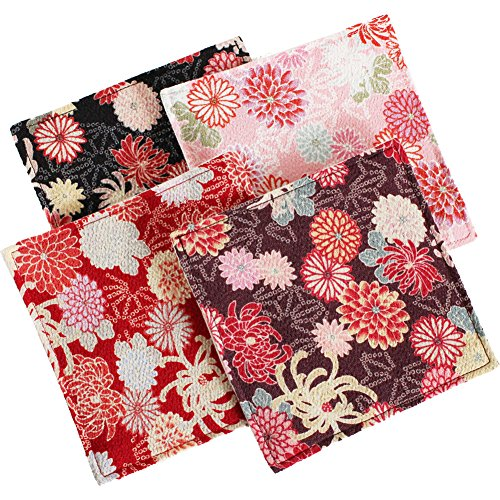 Japanese Traditional Chirimen Coasters for Drinks (set of 4)