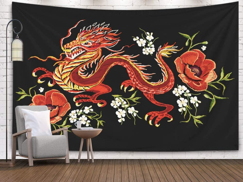 Pamime Wall Art Hanging Tapestry, Home Decor Tapestry Embroidery Colorful Floral Pattern Chinese Japanese Dragon Traditional Folk Dorm Room Bedroom Living Room 80X60 InchesBedspread I,Ivory Yellow