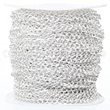 CleverDelights Curb Chain Spool - 3.5x5.5mm Link - Shiny Silver Color - 330 Feet - Bulk Jewelry Roll