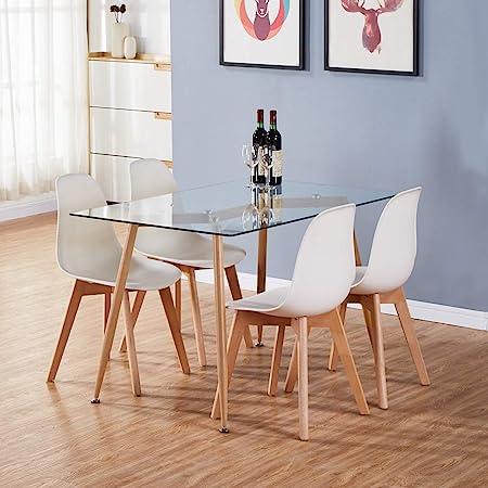 Modern stylish Dining Table Black Tempered Glass Kitchen Dinette Home Decor