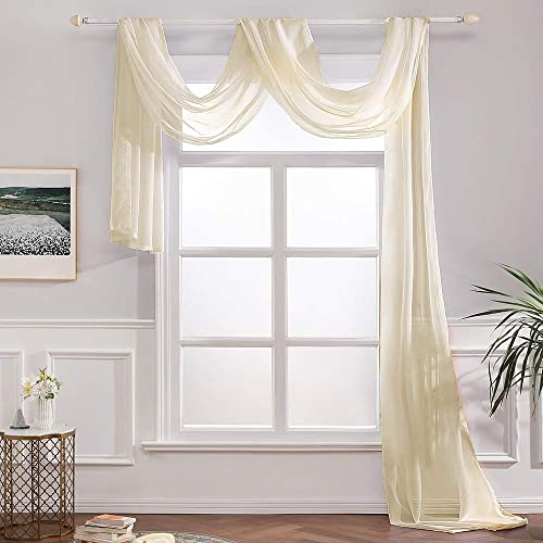MIULEE Luxury Window Scarf Sheer Voile Elegant Topper Long Window Valance Solid Window Treatment Swags Drape