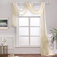 MIULEE Window Scarf, Polyester, Beige, 54''W x 216''L
