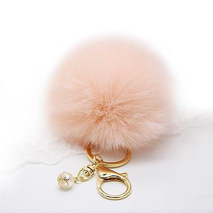 Llavero Bola Pelo de Conejo Llaveros Lindo Encanto Suave para Bolsa Telefono Auto Coche Color Rosa