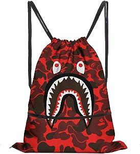 Drawstring Backpack Bag Women&Men Sport Gym Sack Cinch Bag with Zipper Pockets (Red Shark Mouth)