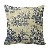 Romantichouse Cotton Linen Square Decorative Blue Vintage Toile Throw Pillowcases