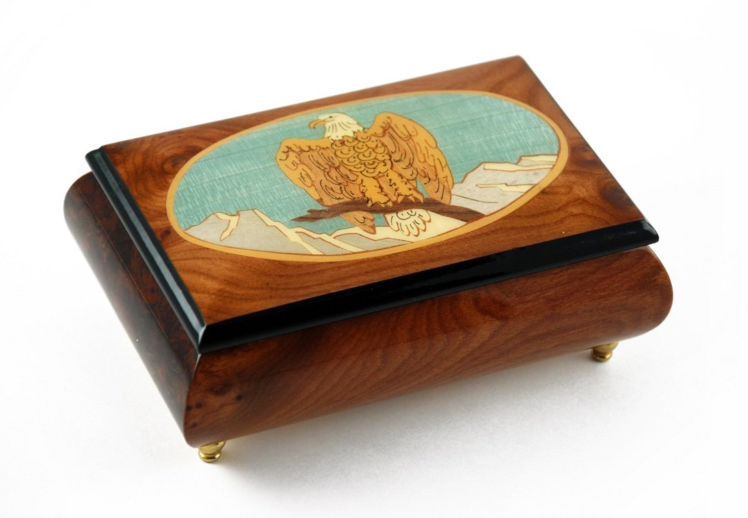 Majestic American Bald Eagle with Frame Inlay Music Box - Take Me Out to the Ball Game