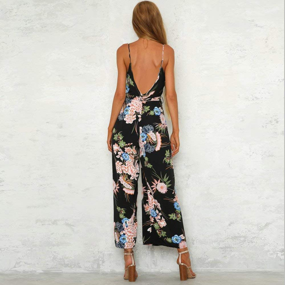 GWshop Ladies Fashion Elegant Jumpsuit Women Jumpsuits Strappy Floral Printed Slit Long Holiday Trouser Playsuits Black S by GWshop (Image #1)