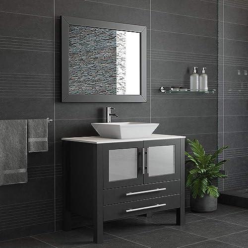 36 Inch Espresso Solid Wood Porcelain Single Vessel Sink Vanity Set