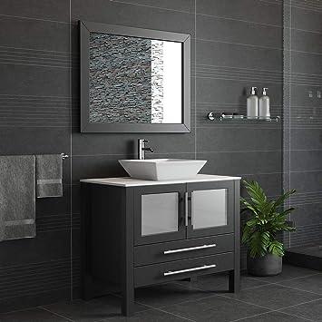 Amazon Com 36 Inch Espresso Solid Wood Porcelain Single Vessel Sink Vanity Set Canton Chrome Faucet Home Kitchen