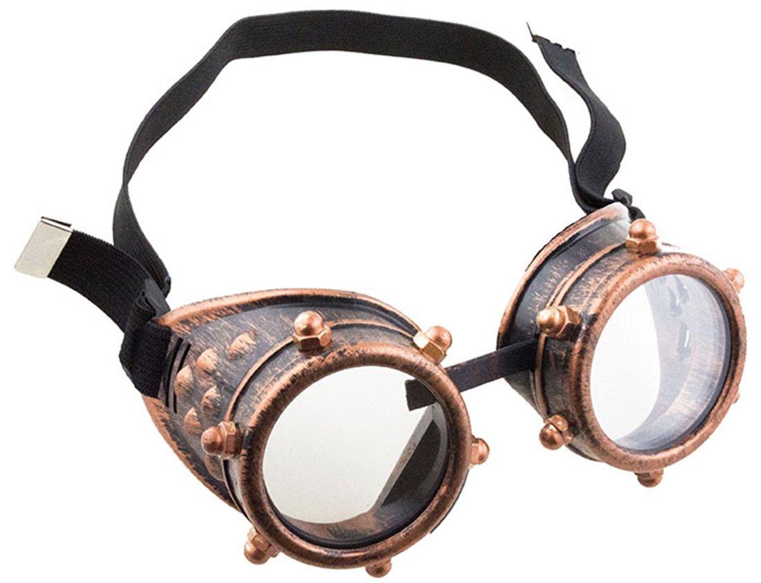 Faschingsfete Kostü m Steampunk Brille Schutzbrille Schrauben mit Gummi, Gold 3 horses