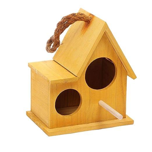 Birdhouse nido de cría de loros Jardín Jaula de pájaros de madera ...