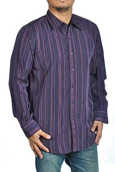 32cc8e4b7e Image Unavailable. Image not available for. Color  Long Sleeve Dress Shirt  Button Down Sueded Purple Vertical Pink Pin Stripe