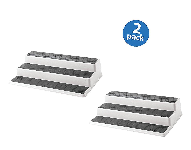 Copco 2555-0188 Non-Skid 3-Tier Cabinet Organizer, 15-Inch (Plastic, Set of 2)