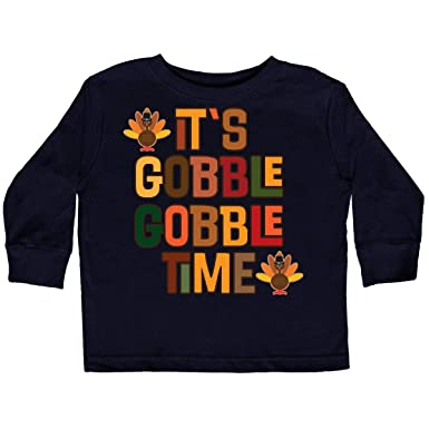 89c828a19 Amazon.com: inktastic - Thanksgiving Gobble Time Turkey Toddler Long Sleeve  T-Shirt 2d524: Clothing
