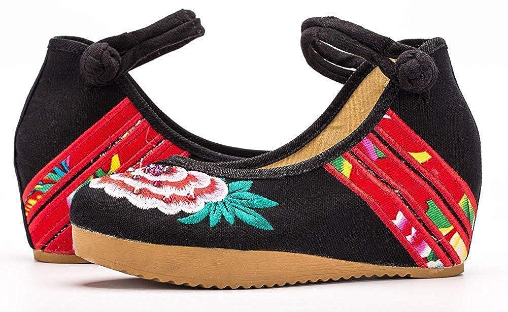 Unm Womens Embroidery Cheongsam Casual Platform Wedges