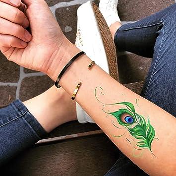 Amazoncom Peacock Feather Temporary Fake Tattoo Sticker Set Of 2