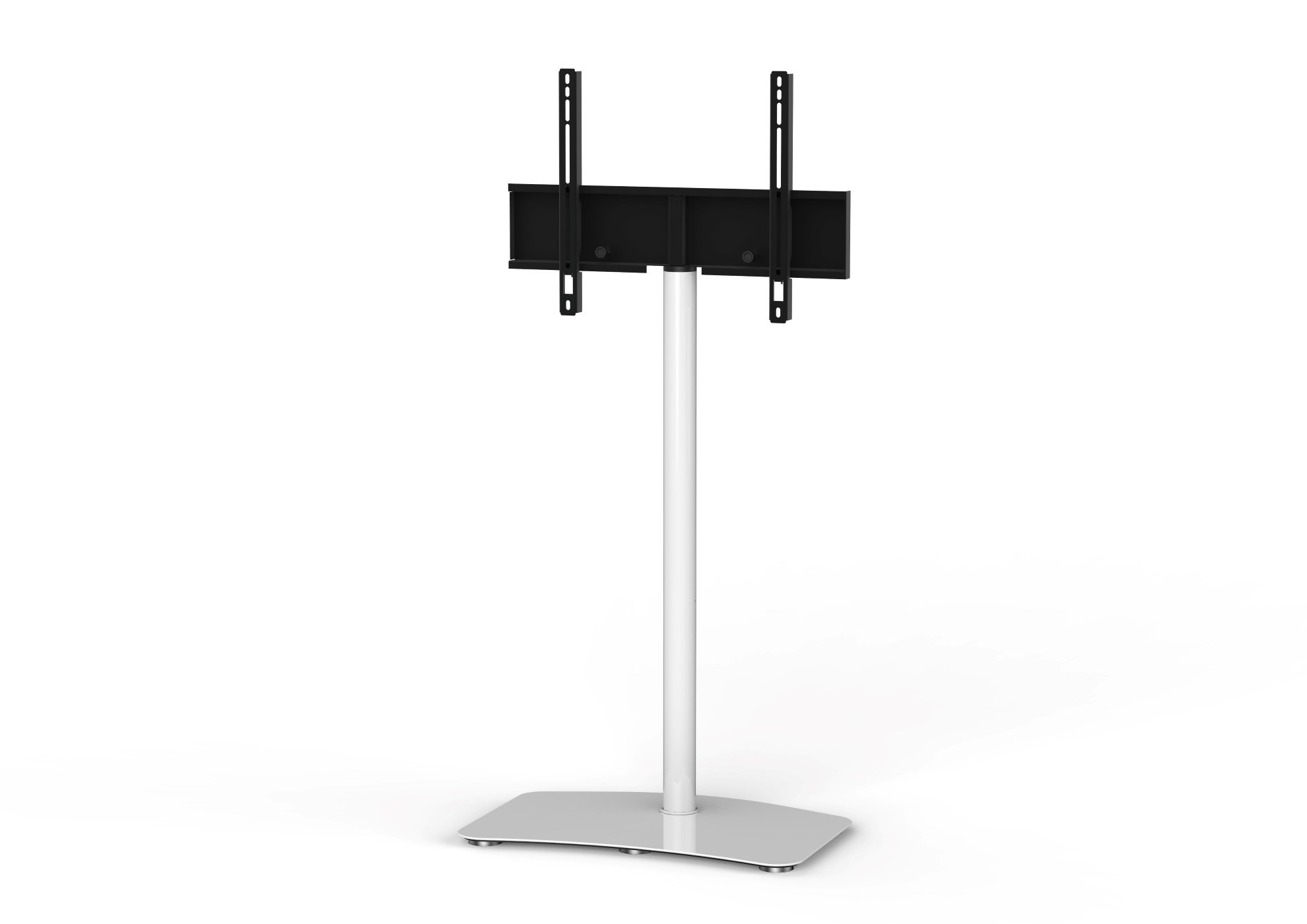 SONOROUS TV Stand PL2800 WHT for Up to 65 Inches TV - Floor Stand TV Bracket for LCD, LED & Flat Screen - Fixed TV Stand with Tempered Glass Base, 45 Degree Swivel & Wire Management - White