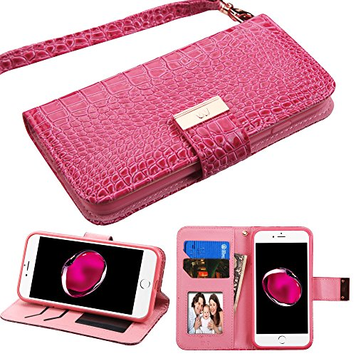 Case+Tempered_Glass PU Leather Purse Clutch Fits Apple iPhone 7 Plus/8 Plus (Also Fits 6 Plus/6S Plus) MYBAT Hot Pink Crocodile-Embossed MyJacket Wallet