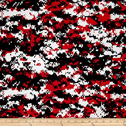 Santee Print Works Urban Camouflage Red/Black Fabric By The Yard, Red