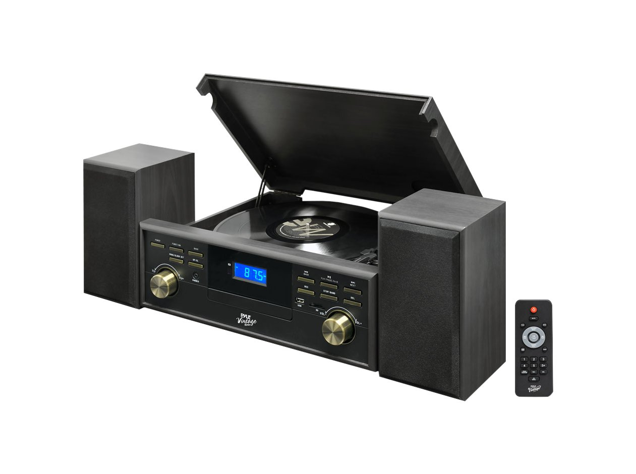 Pyle PPTCM80BTGR Vintage Retro Classic Style Bluetooth Turntable Speaker System with Vinyl/MP3 Recording by Pyle