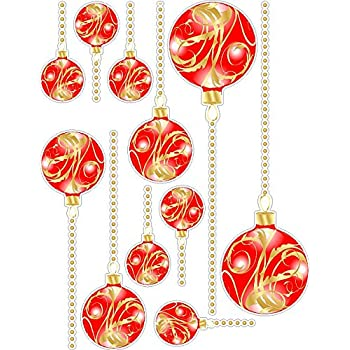 red and gold christmas ornaments wall decals removable and repositionable holiday stickers