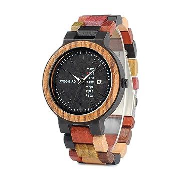 Relojes De Madera para Hombre Reloj De Cuarzo Antiguo con Fecha Y Semana Reloj De Negocios