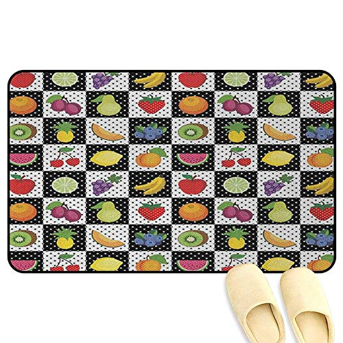 - homecoco Black and White Mat Rug Kitchen Fruits and Vegetables Nature with Dots Chess Squares Art Design Multicolor Kitchen Decor mats W19 x L31 INCH