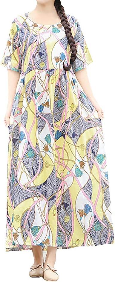 FAMILIZO -Vestidos De Fiesta Mujer Vestidos Verano Mujer Largos Vestidos Elegantes Mujer Cortos Estilo Étnico Algodón Lino O-Cuello Impresión Manga Corta Más Tamaño Vestido Suelto: Amazon.es: Ropa y accesorios