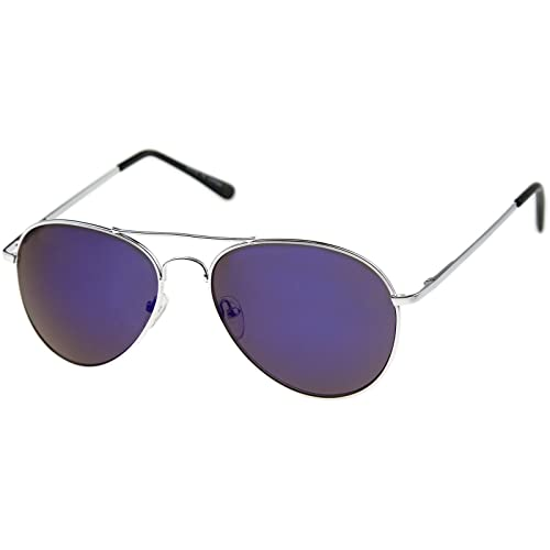 dfbbff3b050 Image Unavailable. Image not available for. Color  zeroUV - Premium Full  Mirrored Aviator Sunglasses w Flash Mirror Lens (Silver Blue