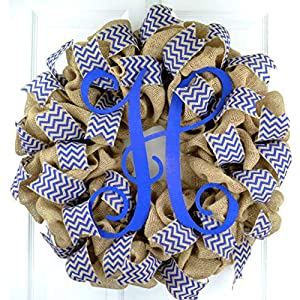 Mom Gifts for Mother's Day | Burlap Year Round Monogram Initial Front Door Wreath | MANY COLORS 19