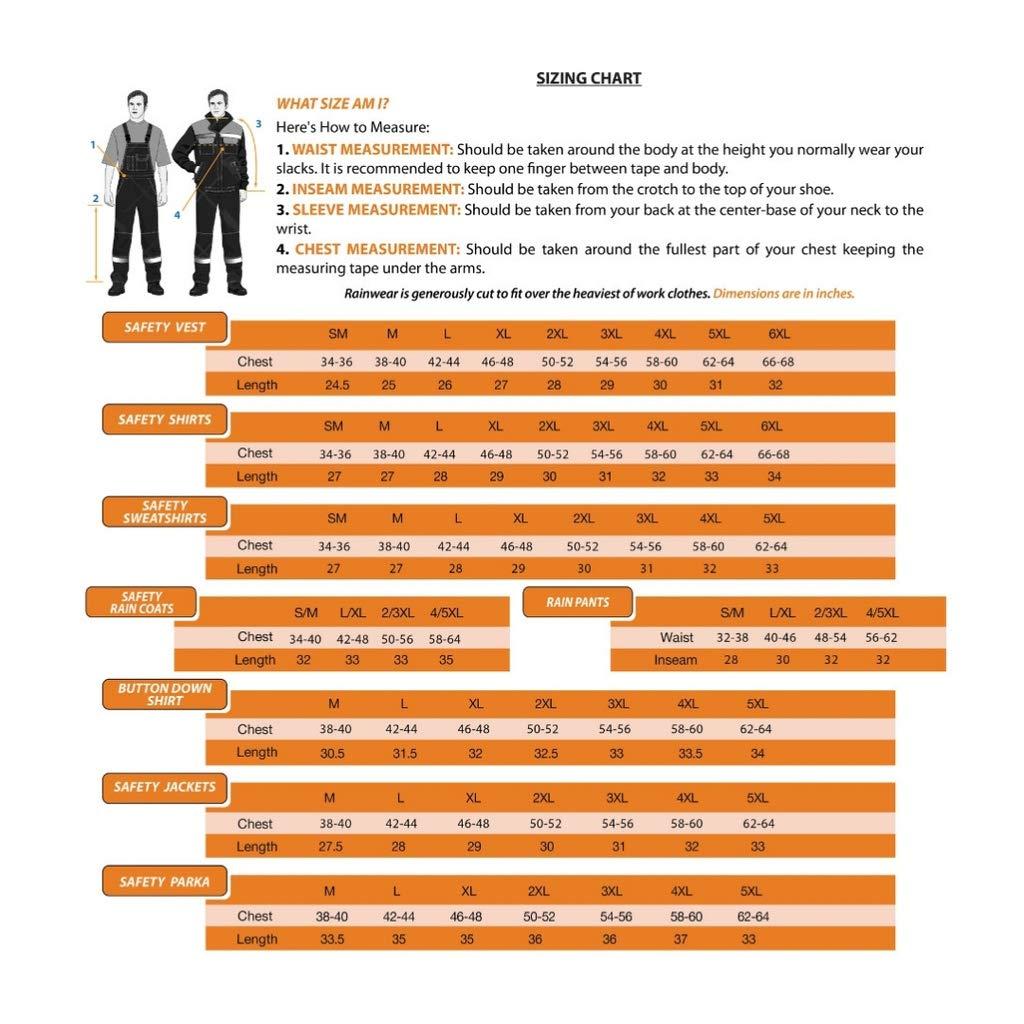 Orange,6XL ANSI Class 2 Compliant Jackets with Reflective Tape Brite Safety Lightweight Waterproof Parka Rain Jacket