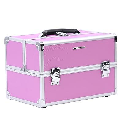 2a71fb7a9 SONGMICS Multiuso Maletín para maquillajes Caja de belleza portable Marco  de aluminio Recubierto de ABS 4 bandejas 36 x 24 x 24 cm Color rosa JBC227:  ...