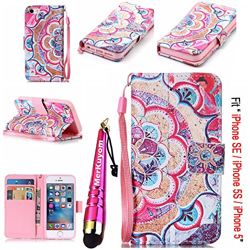 iPhone SE Case / iPhone 5 5S Case, MerKuyom [Wrist Strap] [Kickstand] Premium PU Leather Wallet Pouch [Card Holder] Flip Cover Case For Apple iPhone SE / 5 5S, + Stylus (Colorful Flower Petals)
