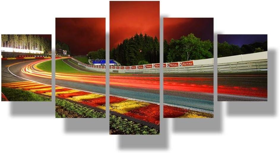 SSYYJJ Impression sur Toile 5 Parties Vue de Nuit du Circuit de Rallye de Nurburgring Photo Vue de la Piste de la Voiture de Sport Imprimer Wall Art Affiche Salon D/écor /à la Maison