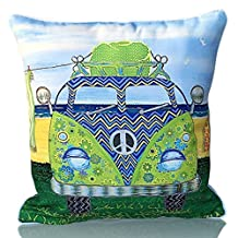 Sunburst Outdoor Living 50cm x 50cm (With Piping) KOMBI Peace Sign Combi Bus Decorative Throw Pillow Cushion Cover for Couch, Bed, Sofa or Patio - Only Case, No Insert