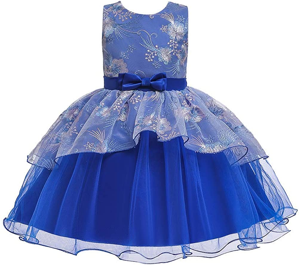 IMEKIS Flower Girl Dress Bridesmaid Wedding Pageant Party Baby Princess Communion Ruffles Tulle Lace Formal Evening Ball Gown