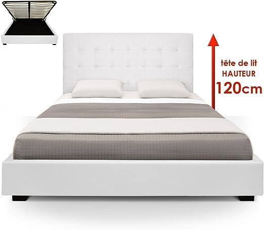 Menzzo Cama baúl trevene + somier 180 cm Color Blanco: Amazon.es: Hogar